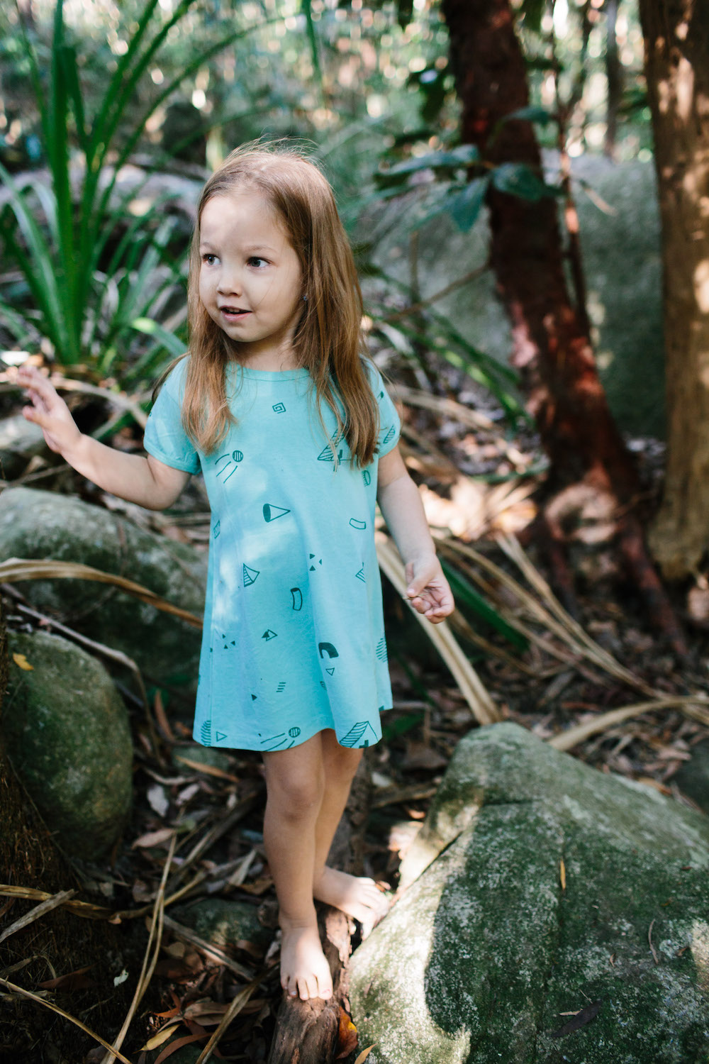 girls tee dress Minty Blocks Coconut Grove by Inkling